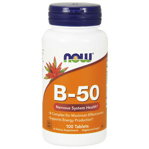 Now Foods Vitamin B-50 - 100 Tablets FRESH, FREE SHIPPING, MADE IN USA