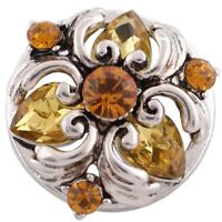 Silver Yellow Rhinestone Flower 20mm Snap Charm For Ginger Snaps Magnolia Vine