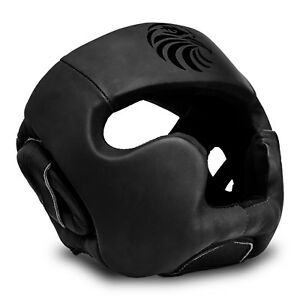 Leather Boxing Head Guard Helmet Protection Kick Martial Arts MMA Gear Headgear