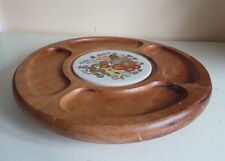 Large Wooden Round Board Lazy Susan Serving Tray Party Platter Ceramic Insert Ki