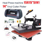 "15""x15"" 5 in 1 Heat Press Machine and 14"" Vinyl Cutter Plotter Digital Transfer"