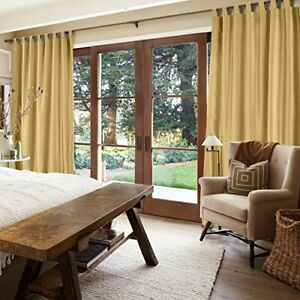 MODERN PLAIN FAUX SILK FULLY LINED TAB TOP CURTAINS in ANTIQUE GOLD/ BRONZE
