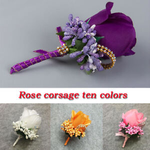 Simulation Rose Corsage Flower Men Women Groom Boutonniere Wedding Party Decor