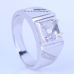 Men's Natural Diamond Engagement Band 10K White Gold Round Semi Mount Fine Ring