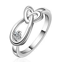 Ring Silber Zirkonia Kristall Verlobungsring Liebe Herz Damen Geschenk 925
