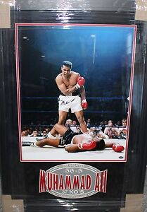 Muhammad Ali Autographed Signed 16x20 Photo Liston Framed Mounted Memories COA