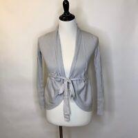 Anthropologie Sparrow Women Cardigan Knit Sweater Gray Tie Waist Ribbed Wrap S