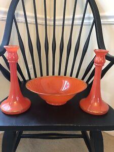 Vintage Art Deco Console Bowl & Candlesticks Orange Glass Gold Trim