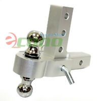 """Aluminum 6"""" Drop Adjustable Tow w/Dual Hitch Ball 2"""" 1-7/8"""" Fit Trailer Receiver"""