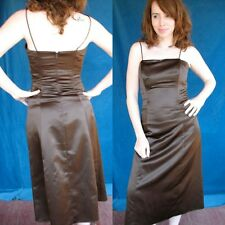 WTOO Watters Formal Cocktail  Dress Chocolate Brown Satin Boned Bodice Chic Sexy