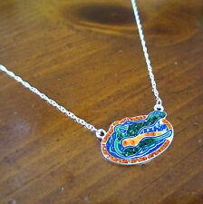 NEW University of FLORIDA GATORS CRYSTAL PENDANT NECKLACE rhinestone fan jewelry