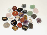 Mixed Engraved Rune Stone Set, with Runic Symbols Chart and Cloth Bag