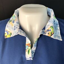 Salu's Aloha Collar Scrub Blue Tropical pattern Cotton/Poly Small Dart Front