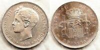 Spain-Alfonso XIII. 5 Pesetas 1898*18-98. Madrid. MBC+/VF+ Plata 25 g.