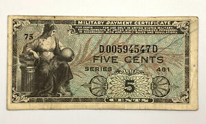 5 Cents Bill Military Payment Certificate (MPC) Series 481 5¢ Circulated Note