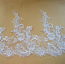 """Bridal Embroidered Lace Trimming Ribbon Ivory Corded Floral Wedding Edging 10.7"""""""