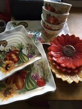 4 Maxcera Bountiful Watercolor Harvest Cornucopia Thanksgiving Salad Plates New
