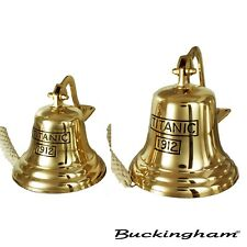 More details for buckingham solid brass titanic 1912 ship bell, pub  door  wall mountable bell