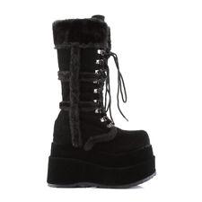 Black Fur Platform 90s Rave Festival Spice Girls Goth Gogo Boots Demonia Bear