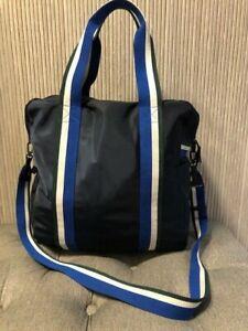 Authentic NEW Tory Burch Sport Retro Striped Weekender Bag Navy Nylon