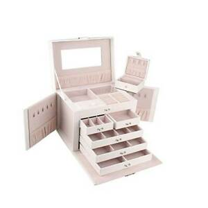 Extra Large Jewellery Box Gifts Necklace Ring Storage Lock Case Mirror Organizer