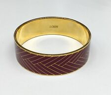 J CREW Plum & Gold Tone Bangle Bracelet Herringbone Chevron Enamel JCREW