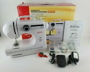 Sunbeam SB1818 Compact White Sewing Machine Bonus Sewing Kit Foot Pedal