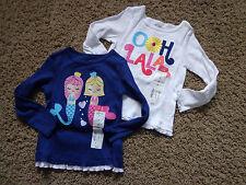 OKIE DOKIE girl's NWT sz 2T (2) LS embroidered shirts blue/white mermaids/flower