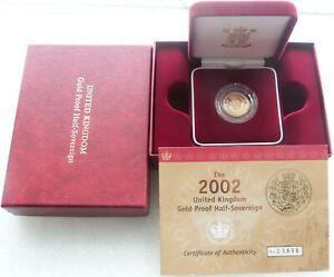 2002 Royal Mint Golden Jubilee Shield Gold Proof Half Sovereign Coin Box Coa