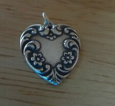 Sterling Silver 21x19mm Very Pretty Large Decorated Heart Charm back is concave