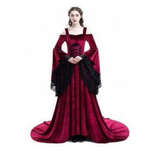 Gothic Halloween Cosplay Queen Costumes Women Medieval Palace Princess Dress
