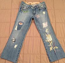 womens juniors GUESS bootcut straight cropped capri denim jeans 5 6 7 W28 short