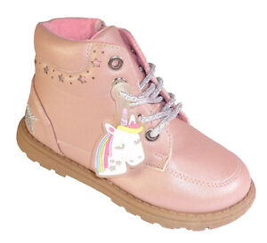 Girls Kids Infant Child Pink Sparkly Unicorn Lace Up Zip Ankle Boots Fashion