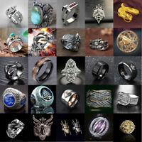 Mens Women Dragon Stainless Steel Silver Rings Gothic Punk Finger Biker Ring Lot