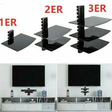 Wall Mount Shelf Floating Blacks Glass Bracket For Xbox PS3/4 Sky TV DVD Shelves