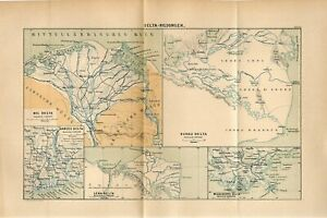 1885 RIVER DELTAS NILE MISSISSIPPI GANGES DANUBE LENA Antique Fold Out Map