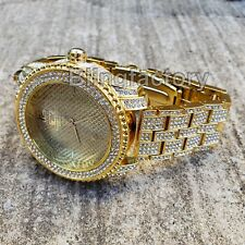 Men Hip Hop Full Iced out Migos Gold PT Bling Simulated Diamond Rapper Watch