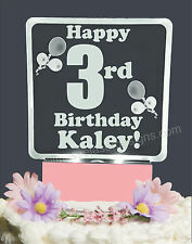 Baby 3rd Third Birthday Lighted Cake Topper Acrylic LED light up