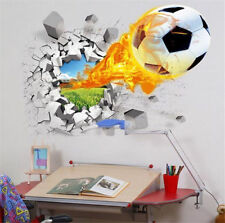 Football Boy Wallpaper 3D Wall Stickers for Kids Room Vinyl Removable Art Mural