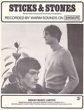 Warm Sounds-Sticks & Stones-1967 Sheet Music-Original UK-Immediate Music-Rare!
