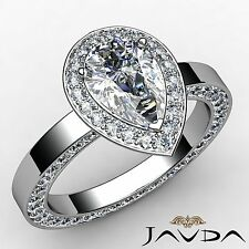 Halo Pre-Set Pear Diamond Engagement Ring GIA H Color VS1 18k White Gold 3.05ct