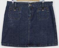 DKNY JEANS Size 14 Women's Skirt Knee Length Straight Dark Wash Blue Denim