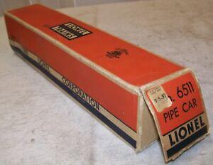Lionel Postwar 6511 Pipe Car Original 2-City BOX ONLY ~ Good