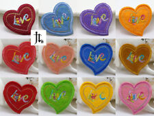 DIY 12PCS Love Heart Design Embroidered Cloth Iron On Patch Sew Motif Appliques