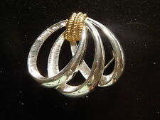 Silver And Gold-Toned Napier Brooch Pin! Vv234Xcx