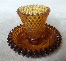 Home Interior Amber Diamond Cut Votive Cup and Glass Holder