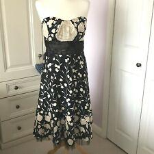 Warehouse Strapless Midi Cocktail Dress Black Cream Floral Net Underskirt UK 12