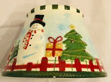 Candle Shade Snowman Holiday Winter  Ceramic