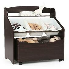 Tot Tutors 3 Tiers Storage Unit With Rollout Toy Box Espresso With 3 Rugged Bins