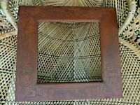 Antique Leather  Picture Frame Celtic Writing Dragons & Phoenix Peacocks Welsh ?